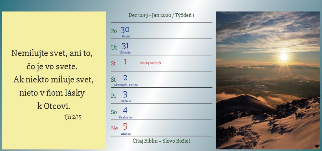 evanjelizačný kalendár 2020 týždeň 1